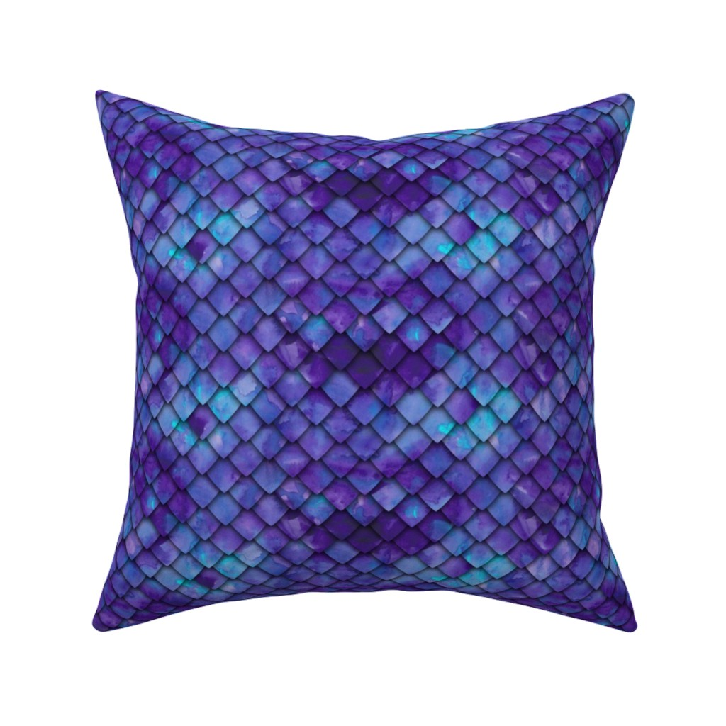 Catalan Throw Pillow featuring dragon scales - purple by littlearrowdesign
