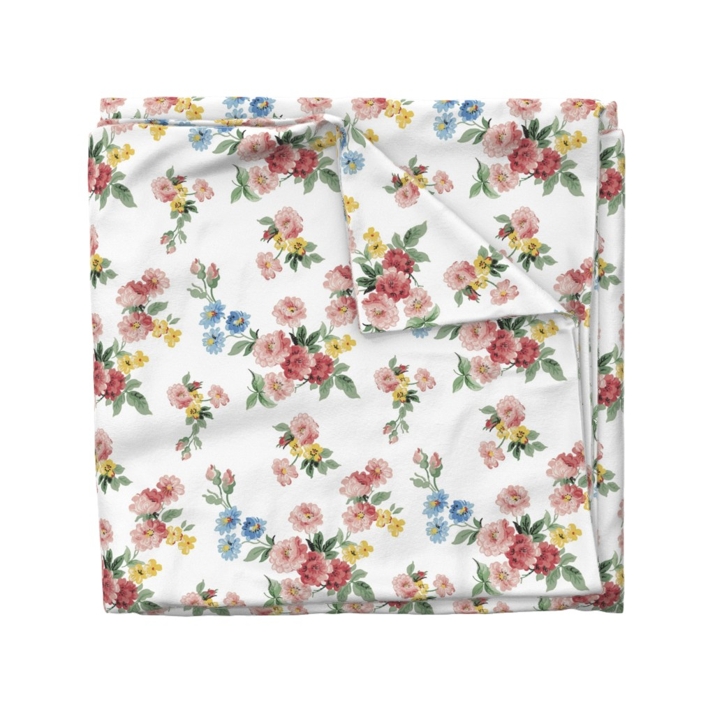 Wyandotte Duvet Cover featuring Cottage Garden Floral on White by grafixmom