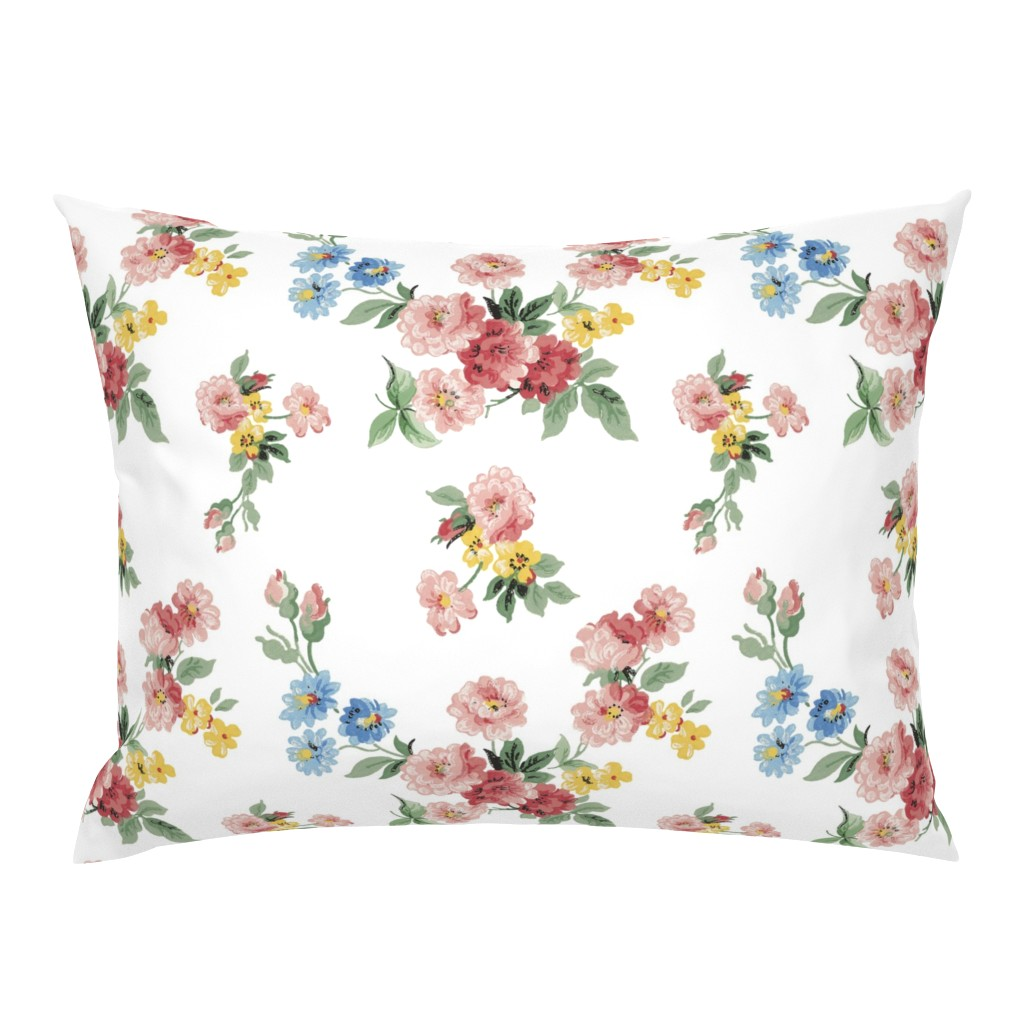 Campine Pillow Sham featuring Cottage Garden Floral on White by grafixmom