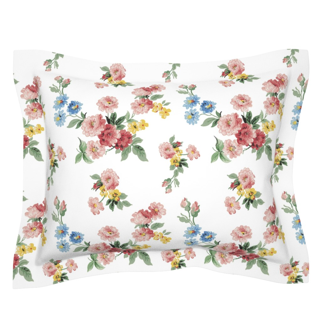 Sebright Pillow Sham featuring Cottage Garden Floral on White by grafixmom