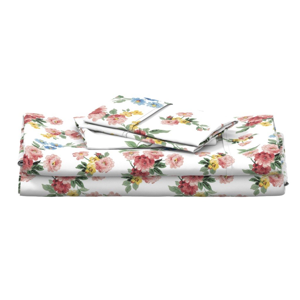 Langshan Full Bed Set featuring Cottage Garden Floral on White by grafixmom