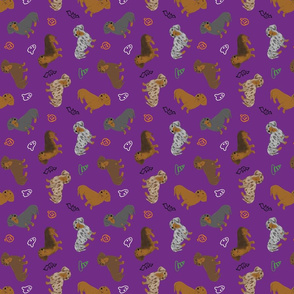 Tiny Smooth Dachshunds - Halloween