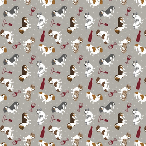 Tiny piebald Smooth Dachshunds - wine