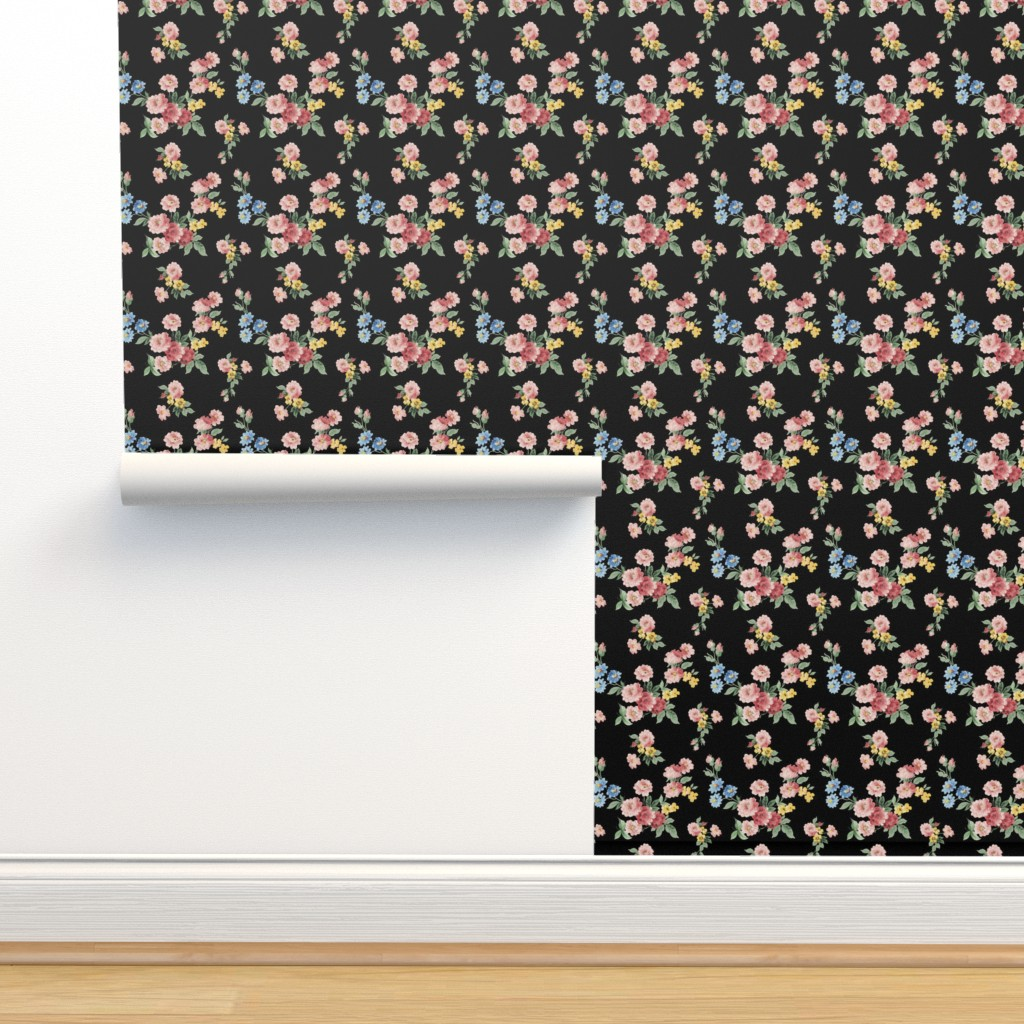 Isobar Durable Wallpaper featuring Cottage Garden Floral on Black by grafixmom