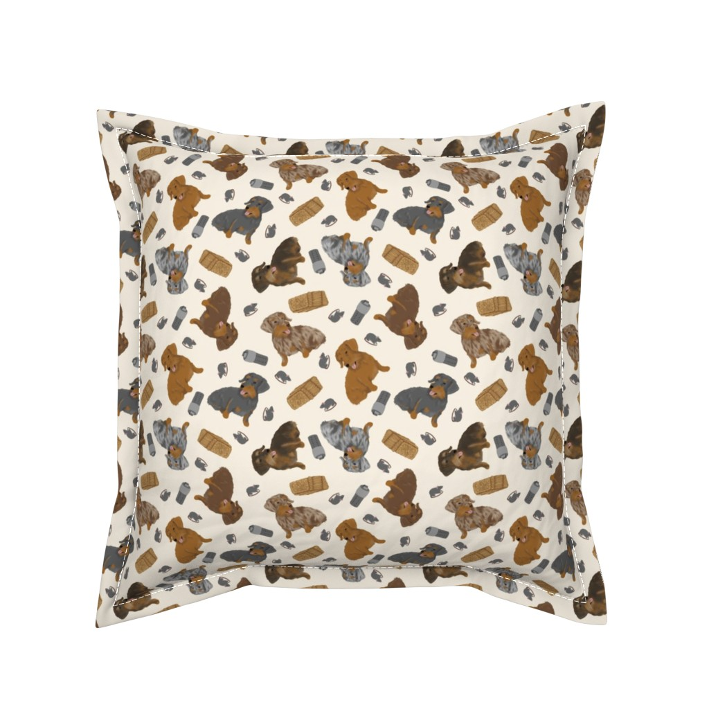 Serama Throw Pillow featuring Tiny Wirehaired Dachshunds - barn hunting by rusticcorgi