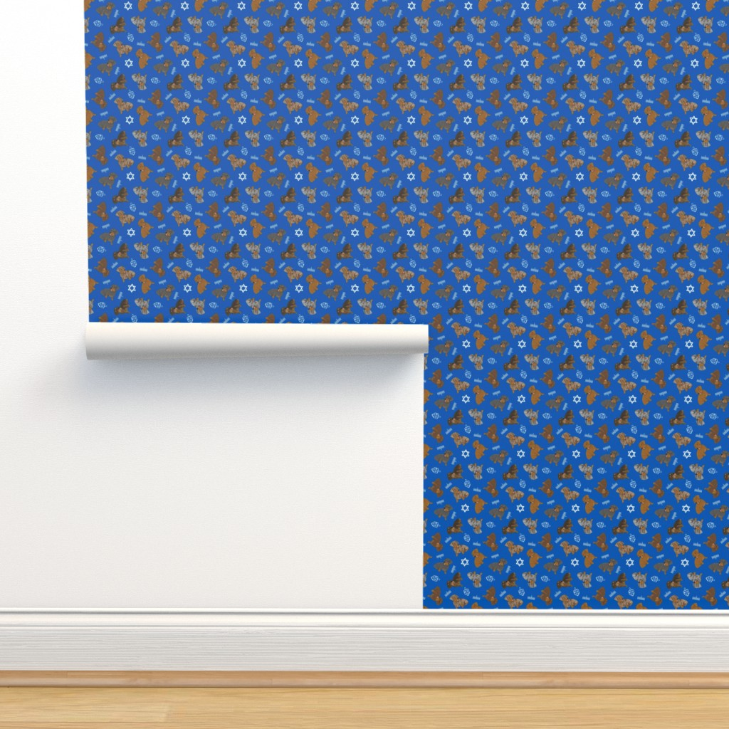 Isobar Durable Wallpaper featuring Tiny Wirehaired Dachshunds - Hanukkah by rusticcorgi