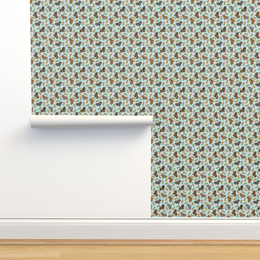 Isobar Durable Wallpaper featuring Tiny Wirehaired Dachshunds - pineapples by rusticcorgi