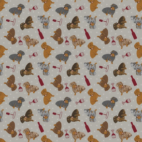 Tiny Wirehaired Dachshunds - wine