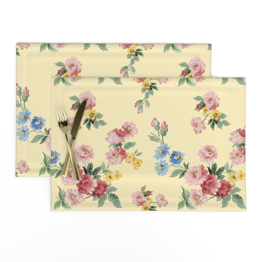 Lamona Cloth Placemats featuring Cottage Garden Floral on Yellow by grafixmom