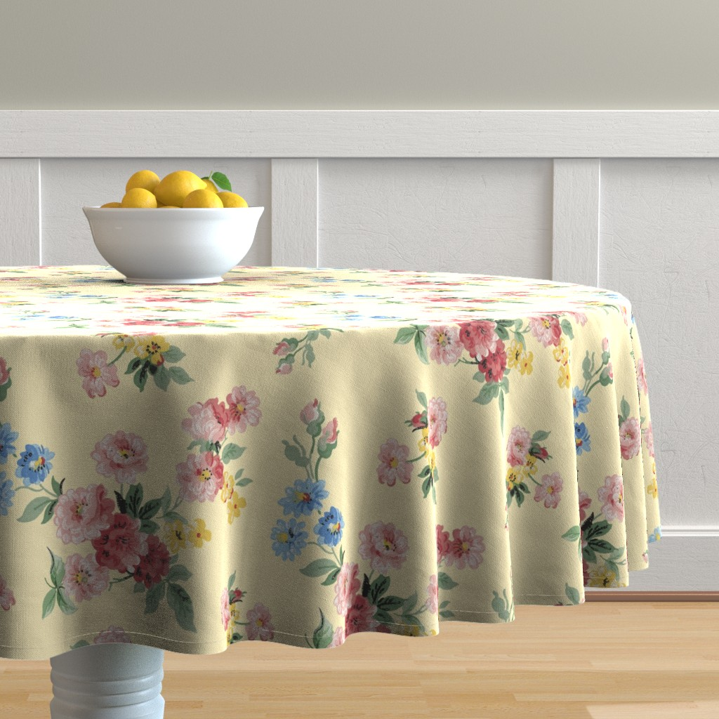 Malay Round Tablecloth featuring Cottage Garden Floral on Yellow by grafixmom