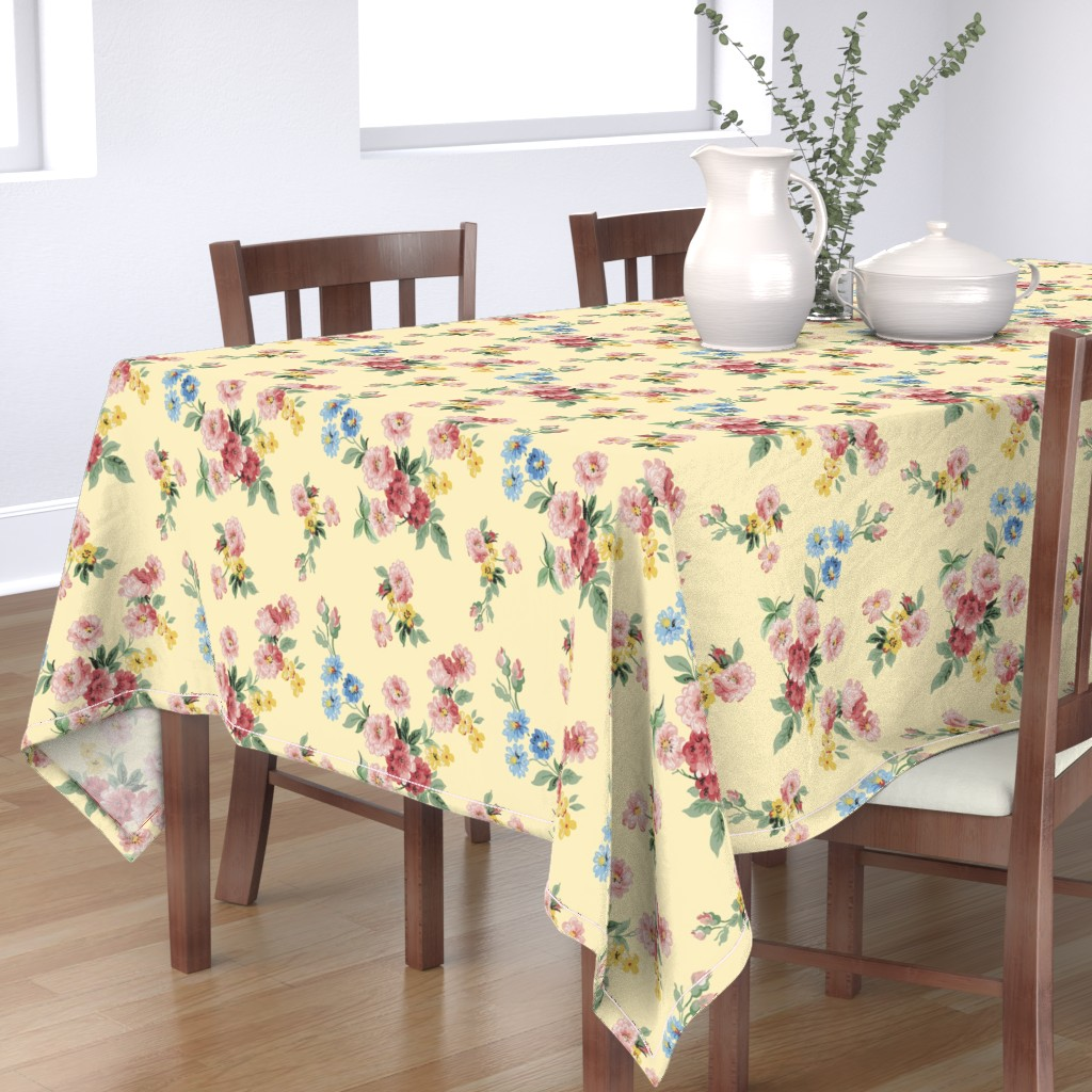 Bantam Rectangular Tablecloth featuring Cottage Garden Floral on Yellow by grafixmom