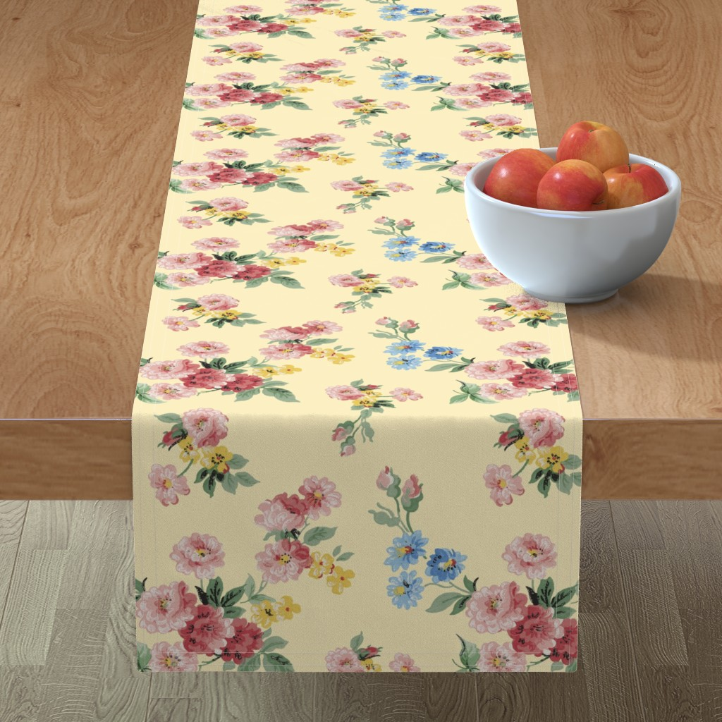 Minorca Table Runner featuring Cottage Garden Floral on Yellow by grafixmom