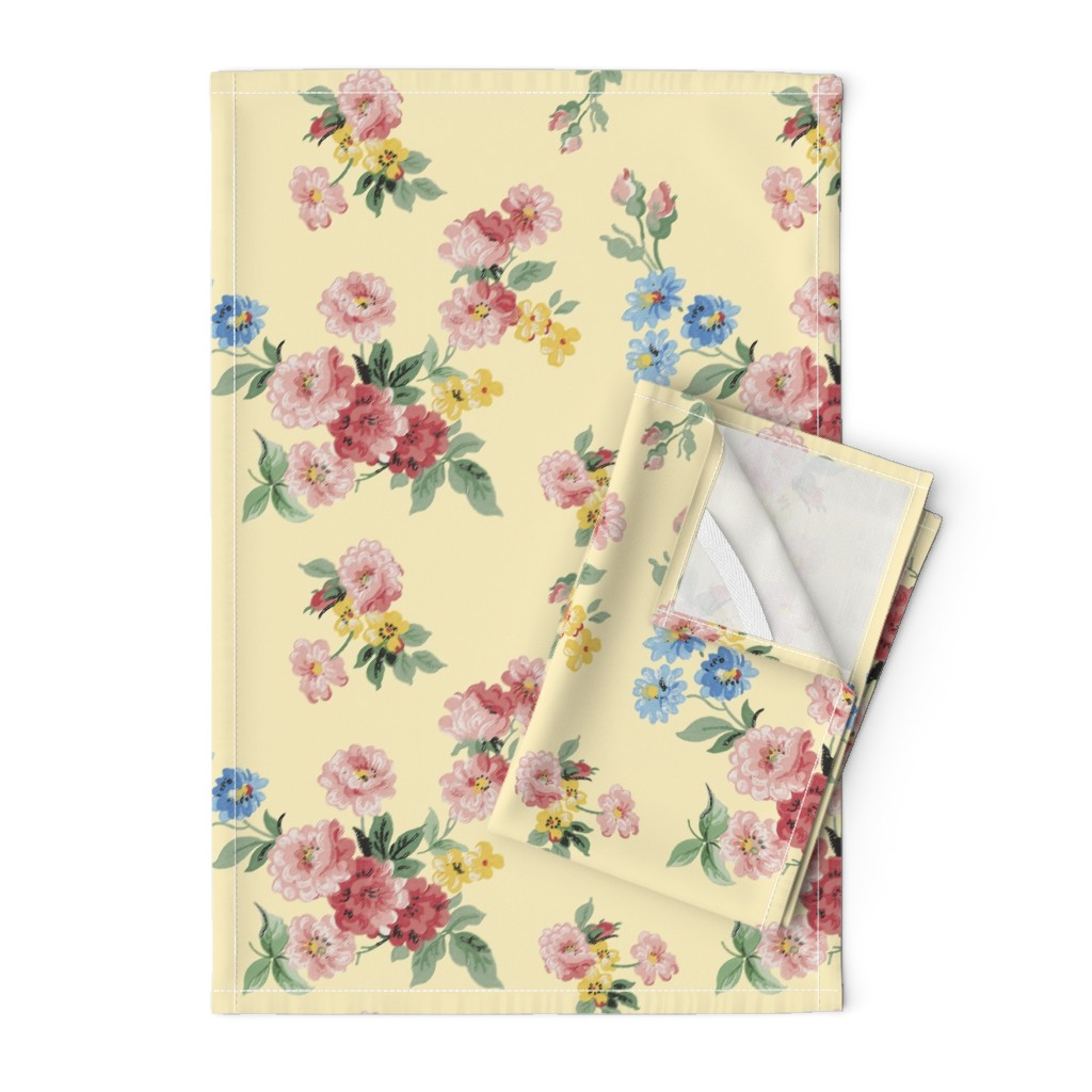 Orpington Tea Towels featuring Cottage Garden Floral on Yellow by grafixmom