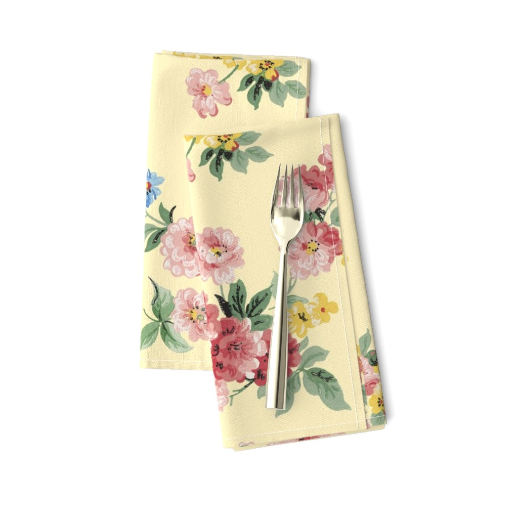 Amarela Dinner Napkins featuring Cottage Garden Floral on Yellow by grafixmom