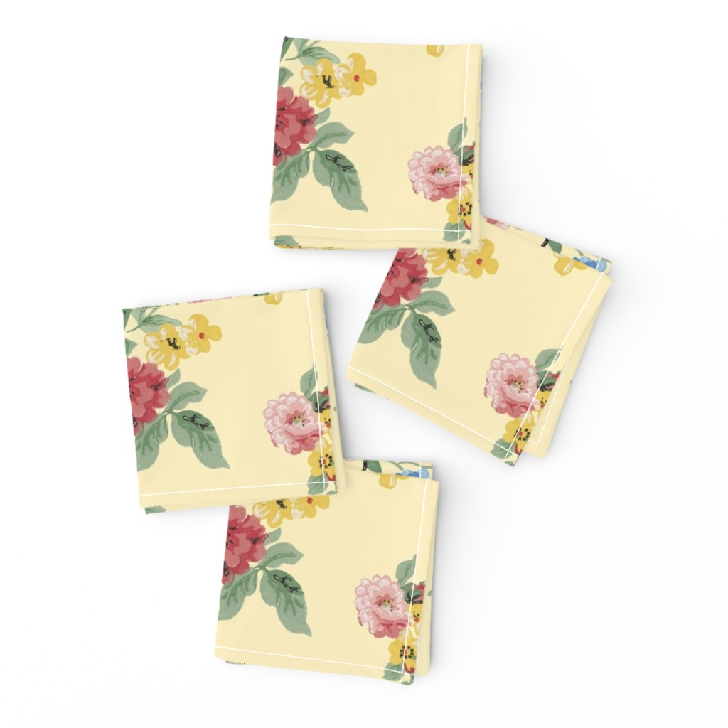 Frizzle Cocktail Napkins featuring Cottage Garden Floral on Yellow by grafixmom