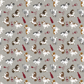 Tiny piebald Wirehaired Dachshunds - wine