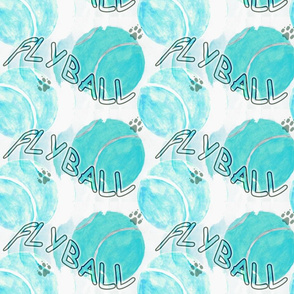 Flyball watercolor tennis balls - teal