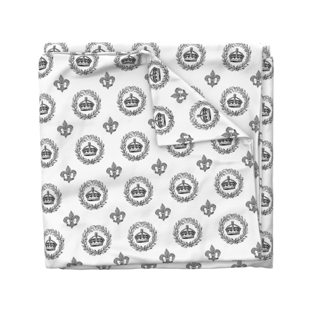 Wyandotte Duvet Cover featuring Vintage King's Crown and Laurel Wreath by grafixmom
