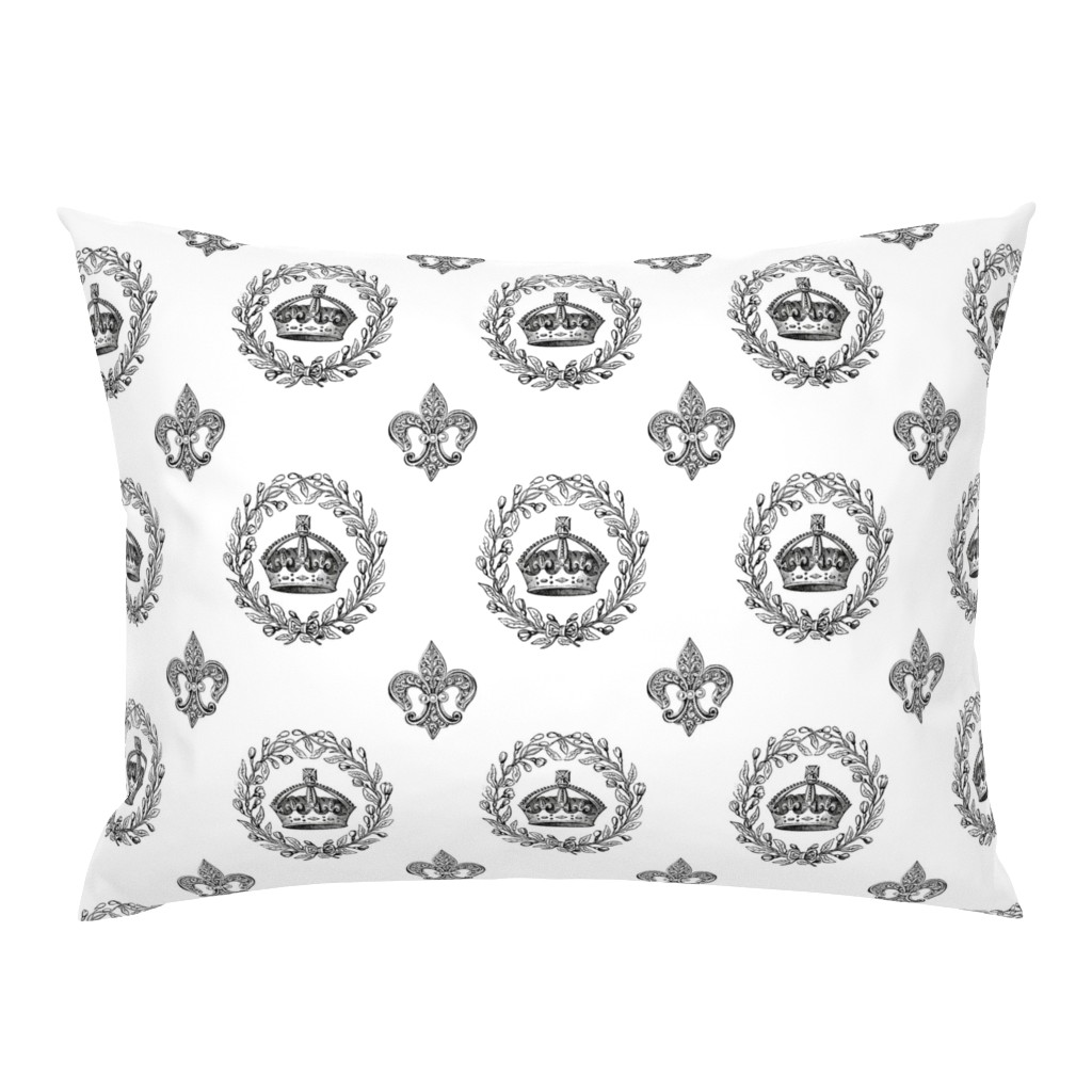 Campine Pillow Sham featuring Vintage King's Crown and Laurel Wreath by grafixmom