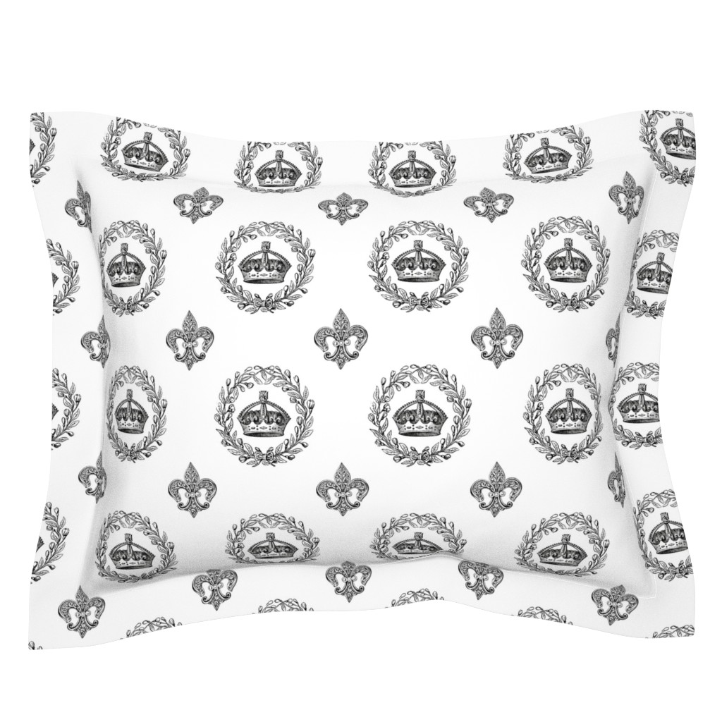 Sebright Pillow Sham featuring Vintage King's Crown and Laurel Wreath by grafixmom