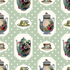 Vintage Tea Set - Green Background