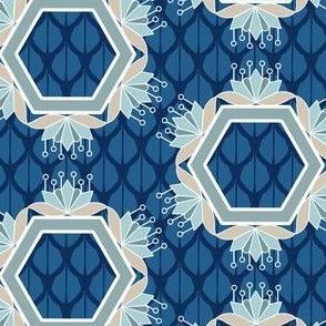 Lotus Blossom Hexagons in Blue and Aqua