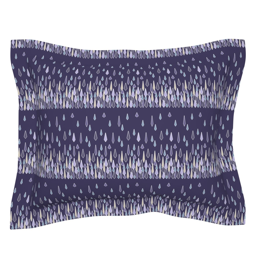 Sebright Pillow Sham featuring Rain Border Print in Purple and Blue by amborela