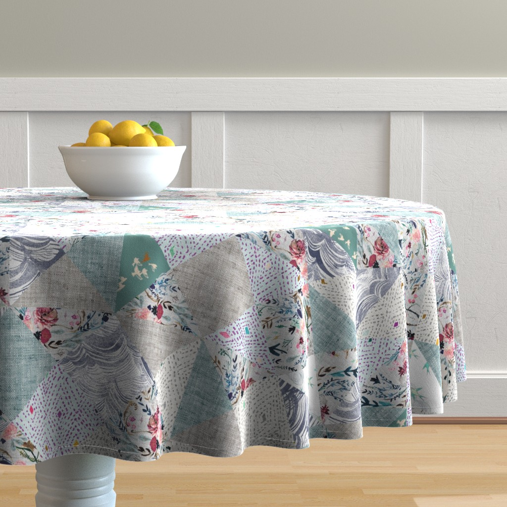 Malay Round Tablecloth featuring 'How Sweet It Is To Be Loved By You' Quilt  by nouveau_bohemian