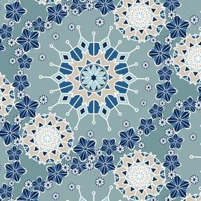 Large Floral Mandala in Blue and Aqua