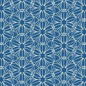 Blue and White Geometric Flower Print