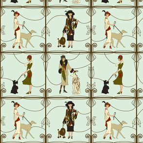 deco dames and dogs mint large scale