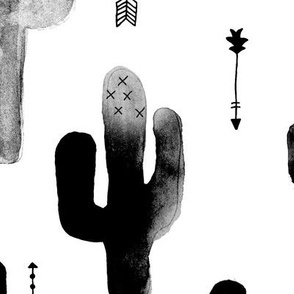 Black and white watercolors ink cactus garden gender neutral geometric arrows cowboy theme XL