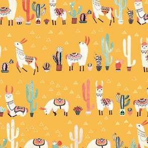 Happy llama with cactus in a pot
