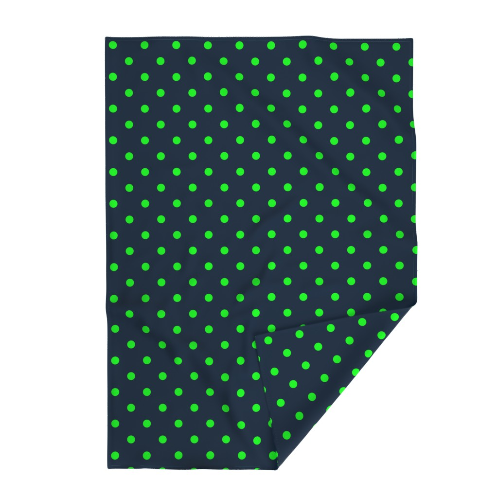 Lakenvelder Throw Blanket featuring Navy and Neon Lime Green Jumbo Dots by paper_and_frill