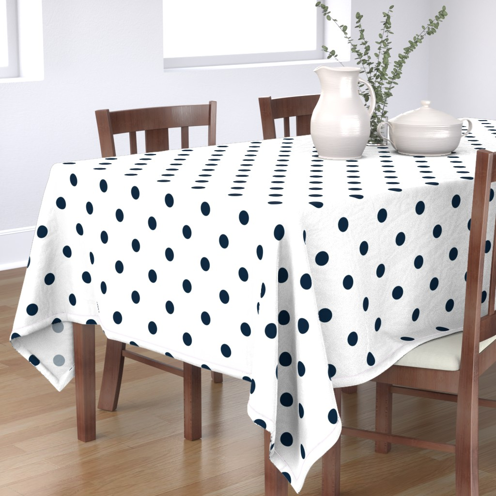 Bantam Rectangular Tablecloth featuring White and Navy Jumbo Dots by paper_and_frill