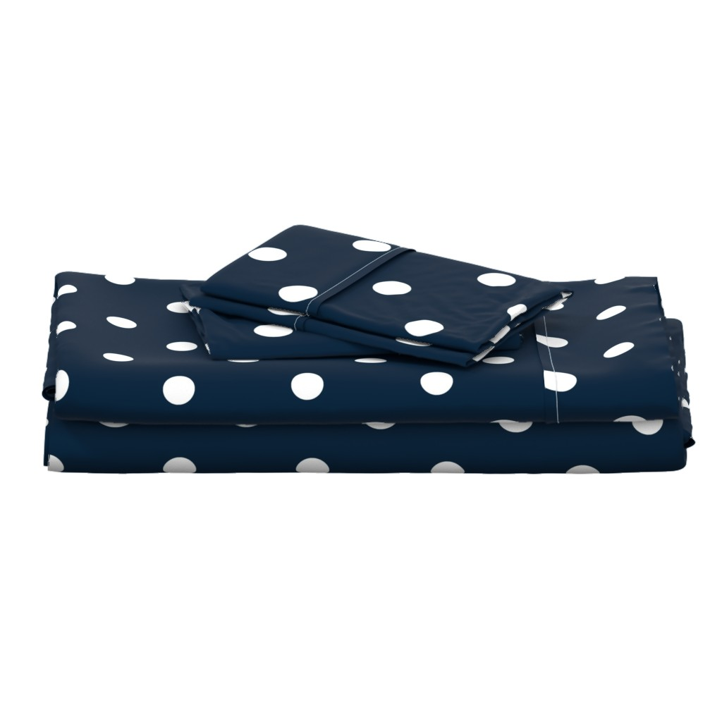 Langshan Full Bed Set featuring Navy and White Jumbo Dots by paper_and_frill