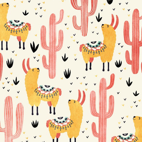 Yellow Llamas Red Cacti