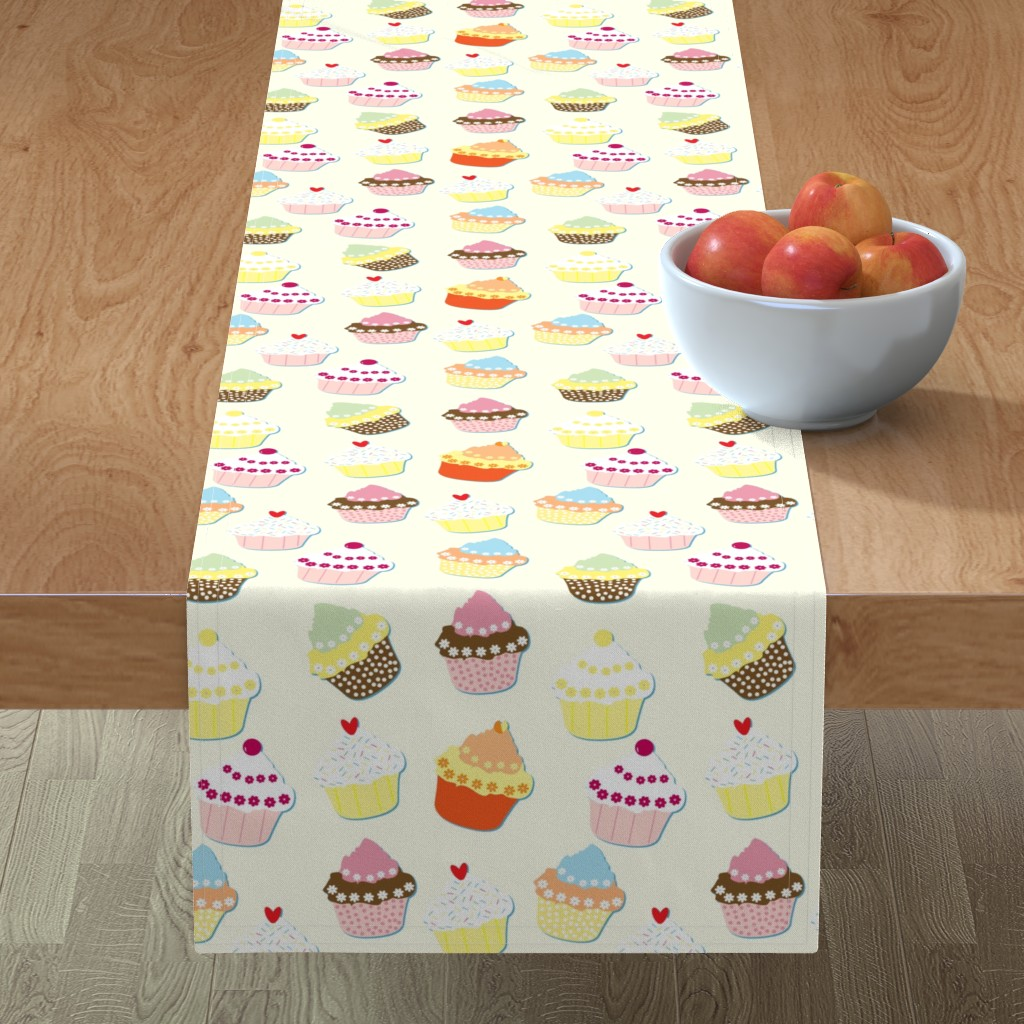 Minorca Table Runner featuring Cream Cupcakes by paper_and_frill