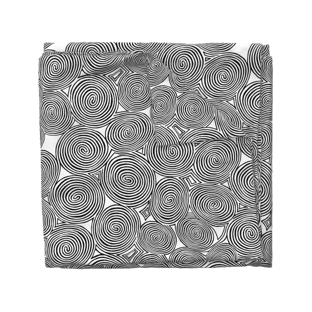 Wyandotte Duvet Cover featuring spirals-black white op art by wren_leyland