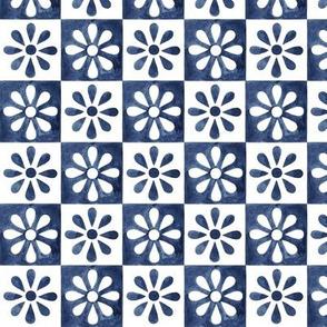 Mini Daisy Tile - Spanish Blue