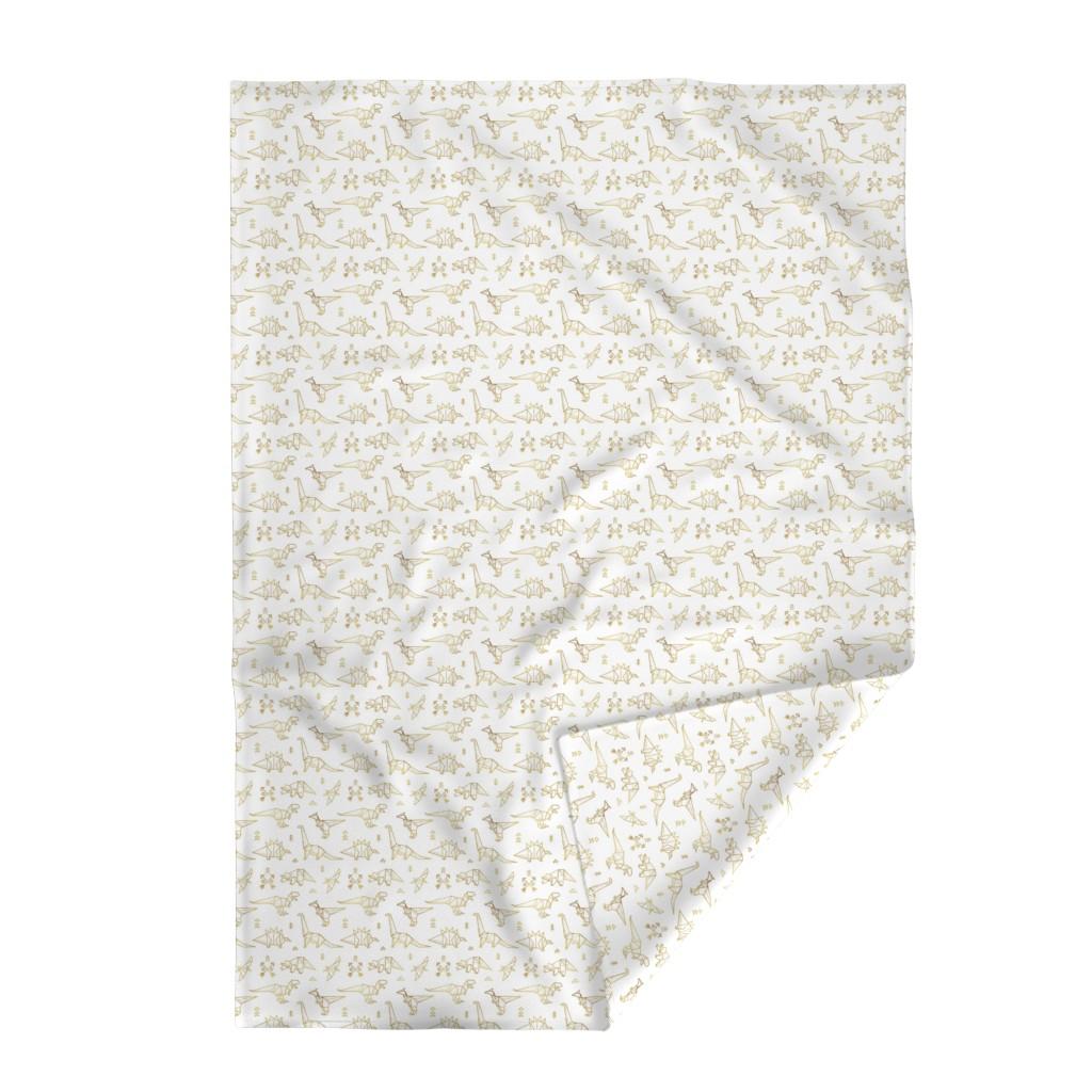 Lakenvelder Throw Blanket featuring Gold origami dinosaurs by penguinhouse