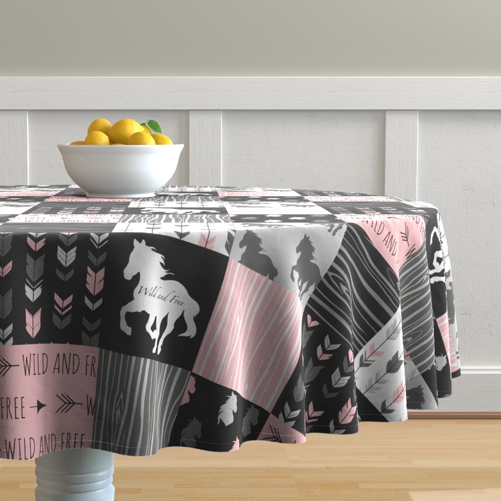 Malay Round Tablecloth featuring Horse Patchwork - Pink and And Black -Wild and Free Horses by sugarpinedesign