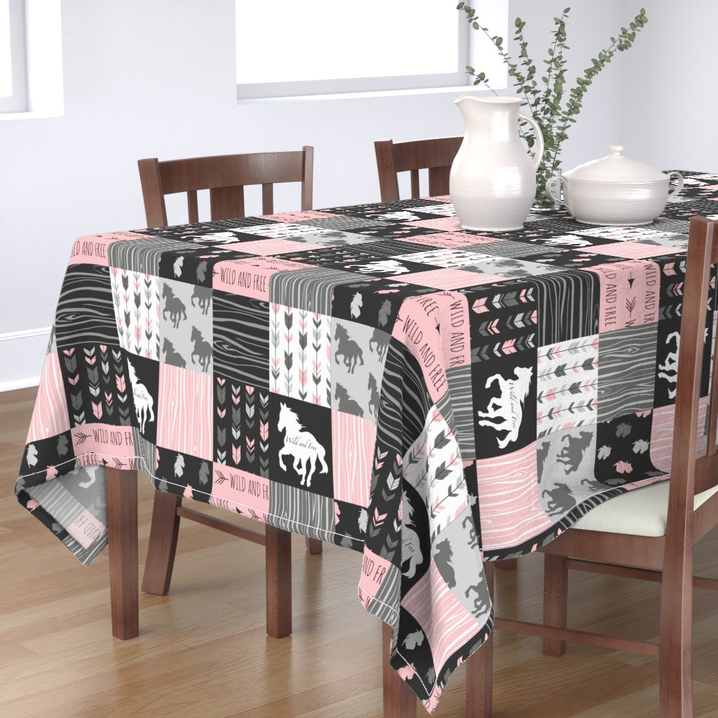 Bantam Rectangular Tablecloth featuring Horse Patchwork - Pink and And Black -Wild and Free Horses by sugarpinedesign