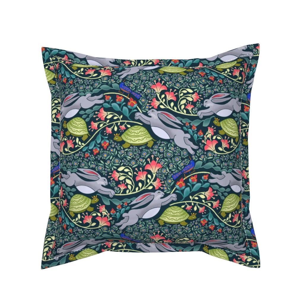 Serama Throw Pillow featuring Folk Art Fable by j9design