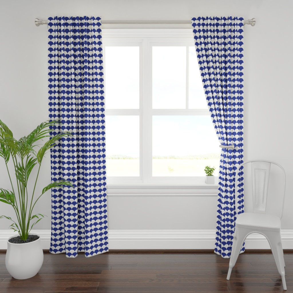 Plymouth Curtain Panel featuring Scallops, Prussian Blue + White by Su_G by su_g