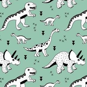 Cool Scandinavian kids dino friends dinosaur pattern gender neutral mint green