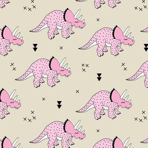 Cool girls dinosaurs pink triceratops on beige summer print