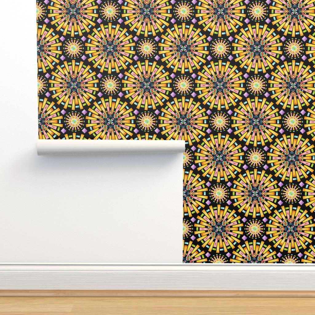 Isobar Durable Wallpaper featuring Supernova sunburst mandala by patriciasheadesigns