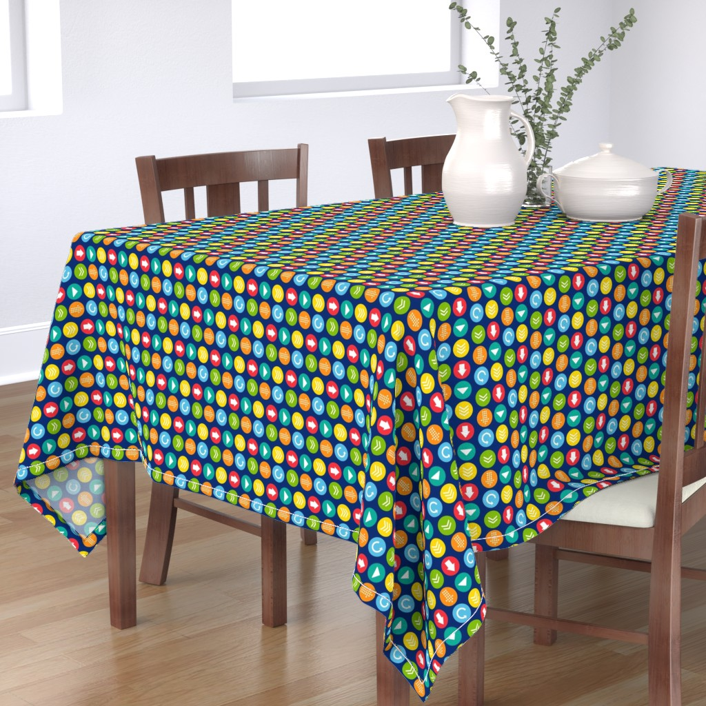 Bantam Rectangular Tablecloth featuring Playful Circles Colorful Small by lisanorrisartworks