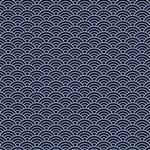 Small Japanese-Style Ripple - White on Navy
